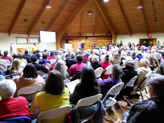 Concerns over fracking in Kentucky have produced large turnouts at public meetings, including this one earlier this year in Berea. There's another meeting on oil and gas development tonight in Hazard. Credit: Greg Stotelmyer.