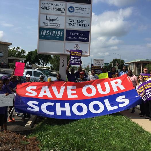 School employees are traveling around the state to support Gov. Tom Wolf budget. Photo courtesy Service Employees International Union 32BJ.