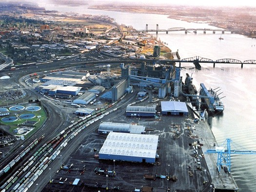 A small-business coalition says building a large oil-by-rail terminal at the Port of Vancouver would change the city's character and culture, and end up costing more jobs than it creates. Credit: Washington Department of Transportation.