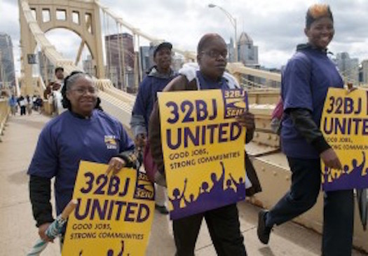 Security guards in Pittsburgh demand better pay and training. Credit: SEIU 32BJ