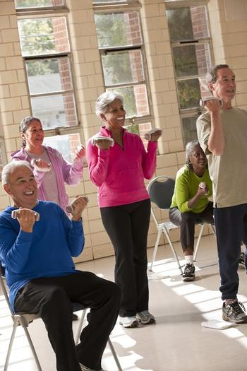 Exercise is recommended to boost strength and balance in order to reduce seniors' risk of falling. Credit: USDA