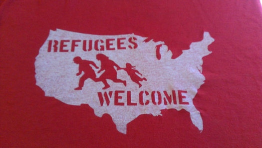 """More than 500 people have signed up for a group """"selfie"""" with a """"Refugees Welcome"""" banner on the Idaho Statehouse steps Saturday. Credit: Joshua Wiese."""
