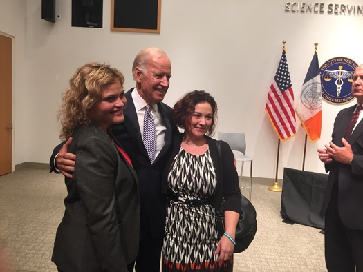 Alexenko (left) pictured with Vice President Joe Biden at a recent event to raise awareness for the backlog of rape kits in New York. Courtesy: Alexenko