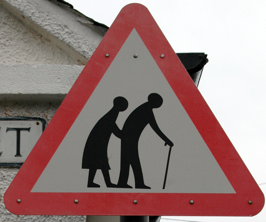 Surely signs such as this won't be necessary to get Oregon motorists to slow down, pay attention and reduce the number of fatal crashes involving older pedestrians. Credit: Ariadna/Morguefile.