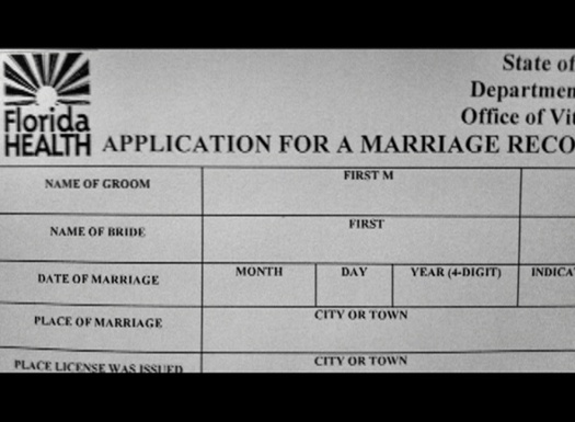 "Florida marriage certificate and license applications will change today to say ""spouse"" and ""spouse."" Credit: Florida Bureau of Vital Statistics"