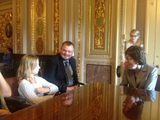 Zach Wolzich and 9-year-old daughter Samantha met with Sen. Susan Collins (R-Maine) to ask Congress to protect the carbon pollution limits in the EPA Clean Power Plan. Courtesy: Natural Resources Council of Maine