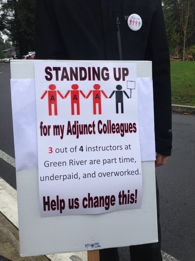 """This is """"Campus Equity Week,"""" to call attention to the contributions of adjunct college professors. Credit: Green River United Faculty"""