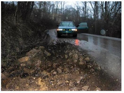 Some roads in Wetzel County have been damaged by gas drilling truck traffic to the extent that  they're unsafe for school buses. Credit: Ed Wade/The Sierra Club