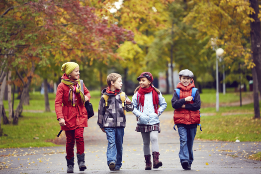 Walking to school or other regular physical activity by children can help improve their health and academic performance. Credit: shironosov