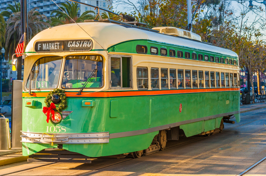 A Muni streetcar along the Embarcadero in San Francisco during the December holiday season. Credit: Luciano Mortula/iStockphoto.