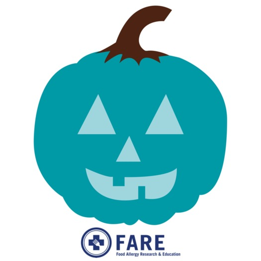 A teal pumpkin signifies a house handing out food-allergy-safe treats for Halloween. Courtesy: FARE