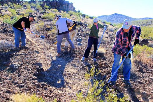 On Veterans Day, a unique partnership is providing young Nevada veterans both work and job training as part of a Veteran Conservation Corps that has been tending to Sloan Canyon. Courtesy: Friends of Sloan Canyon