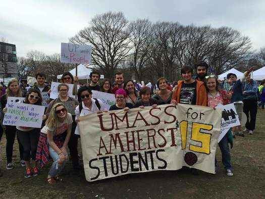 The movement got its start in Massachusetts and now the Million Student March arrives in the Granite State. Students are demanding tuition-free public college, cancellation of student debt and $15-an-hour pay for college workers. Credit: E. Civitarese