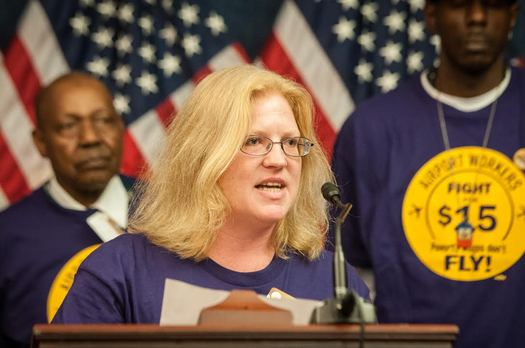 Portland International Airport janitor Julie Hayden spoke at a national rally this week in support of a $15 minimum wage and the right to join a union. Courtesy: SEIU