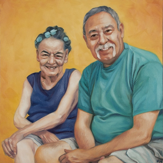This portrait of caregiver Frank Ballasteros of Tucson and his Aunt Lupe was given to them as part of National Family Caregivers Month. Credit: AARP Arizona