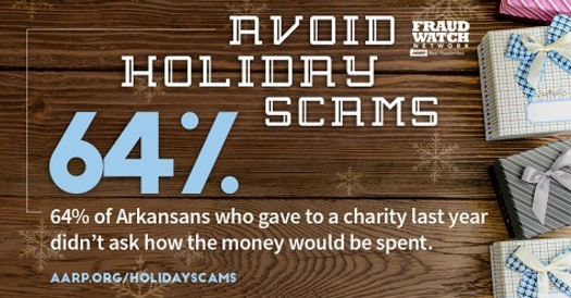 AARP Arkansas warns consumers to beware of holiday scammers, and to ask questions about any charity they support. (AARP Arkansas)