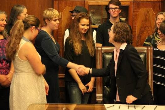 Young people who suggested and worked on successful legislation for kids in foster care were at the signing ceremony earlier this year with Gov. Kate Brown. (Oregon Foster Youth Connection)