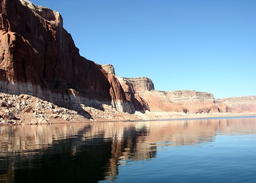 Lake Powell is one of two storage reservoirs along the Colorado River Basin that provides water to Arizona and six other western states. (Wikimedia Commons)