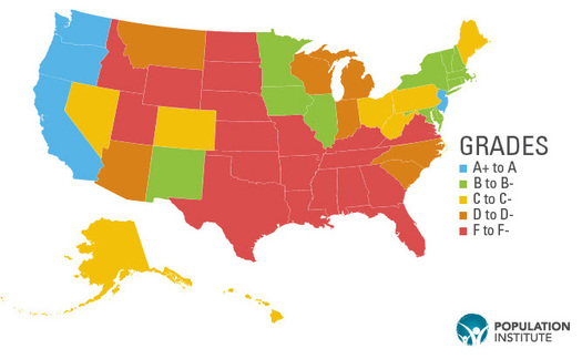 Arkansas and 18 other states get an F on reproductive heath care and rights. (Population Institute)