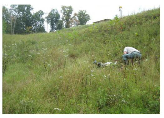 DEP samples taken downhill from one part of a waste disposal site in Ritchie County last fall suggest the injection well site is leaking frack waste. (WV DEP)