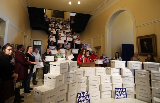 It is now up to Maine's secretary of state to certify a ballot petition that was supported by more than 75,000 signatures last week. The proposal would boost the statewide minimum wage to $12 an hour by 2020. (Mainers for Fair Wages).