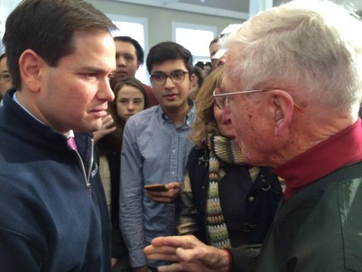 As Granite State voters take stock of candidates like Senator Marco Rubio (l.) a new AARP survey finds 9 in 10 New Hampshire primary voters want to know where the candidates stand on Social Security. (AARP New Hampshire)
