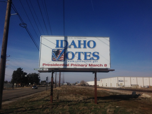 This billboard has drawn criticism from the Idaho Democratic Party because it omits information about the March 22 Democratic primary. (Idaho Democratic Party)