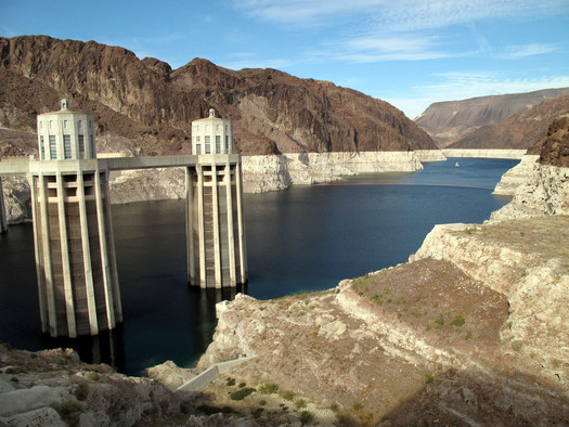 White rings along the shore of Lake Mead show how much water levels have dropped during the 15 years of drought in the Colorado River Basin. (Wikimedia Commons)