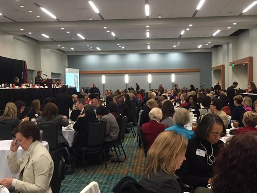 Mayor Megan Barry of Nashville speaks at a recent luncheon of Nashville Cable, a networking group for women. (Nashville Cable)