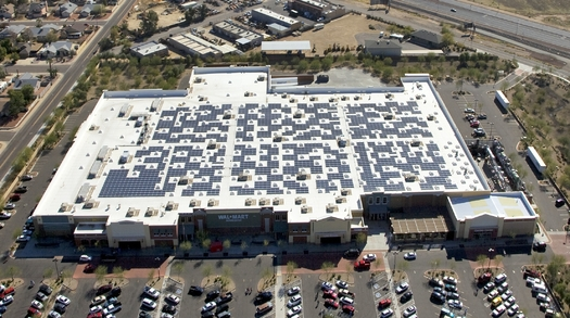 Retail giant Walmart installed solar panels on the roof of this Superstore in Peoria, Arizona. (Walmart/Flickr)