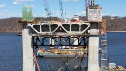 The St. Croix Crossing Bridge now under construction will connect Oak Park Heights, Minn. and St. Joseph, Wis. It's one of the few infrastructure projects actually moving forward in Wisconsin. (Wisconsin Dept. of Transportation)
