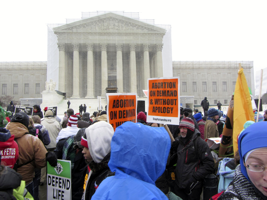 Pro-choice and anti-abortion advocates gathered in front of the U.S. Supreme Court Wednesday as the justices heard oral arguments on a law that restricts abortions in Texas.