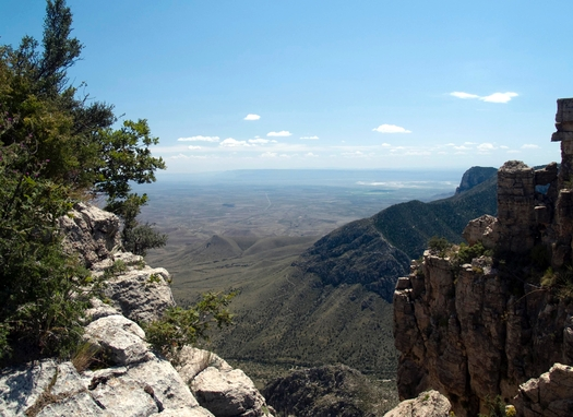 View of lower Pine Spring Canyon and the Guadalupe Peak Trail from Hunter Peak in Guadalupe Mountains National Park. Texas is battling the EPA over regulations designed to control haze in the park. (National Park Service)