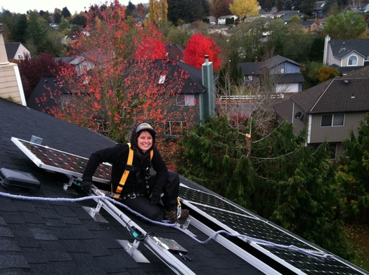 Women make up just over 26 percent of the solar workforce in Oregon, according to the Solar Foundation. (Brion Wickstrom/Synchro Star)