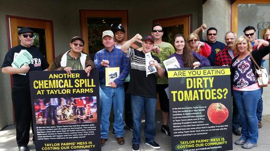 Workers from Taylor Farms, a supplier for Chipotle, protested Thursday at two of the chain's California restaurants. (Teamsters Joint Council 7)