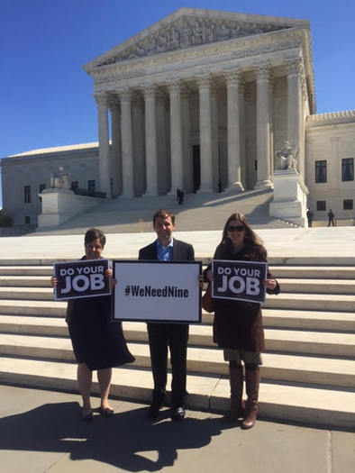 Nevada progressive advocates protest at the U.S. Supreme Court to ask senators to give the president's nominee a hearing. (Nevadans for Judicial Progress)