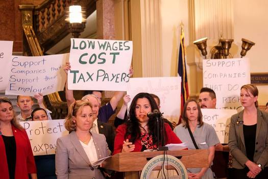 The Corporate Responsibility Act, introduced in the Colorado House of Representatives on Tuesday, would force companies paying workers less than $12 an hour to help cover the state's Medicaid expenses. (Colorado Fiscal Institute)