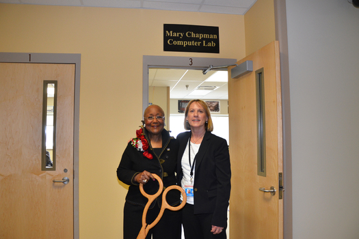 A computer lab at ICIW's Mitchellville facility is named after DMACC Emeritus Admininstrator Mary Chapman (left). (DMACC)