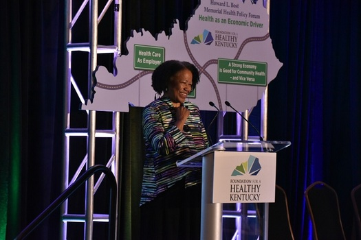 Dr. Gail Christopher, a  national expert in holistic health and diversity, told community and health leaders in Kentucky that if they work more on improving inequities the state's health will improve. (Shannon Wells)
