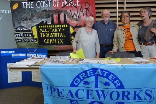 Local peace activists are calling attention to the $1.45 billion that Maine taxpayers contributed to Pentagon Budget in FY 2015. (M. Speiss)