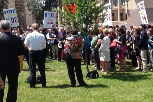 Backers of the KidsCare program rally in front of the State Capitol in April. The Arizona Legislature failed to renew the program. (Children's Action Alliance)