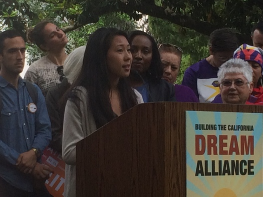 """Laiseng Saechao from the Asian Pacific Environmental Network speaks at a press conference Wednesday announcing the """"Building the California Dream Alliance."""" (Christopher Calhoun)"""