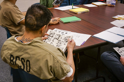 Pop Culture Classroom kicks off a new literacy program at the Sterling Correctional Facility on Saturday. (Stephanie Wolf/Colorado Public Radio)