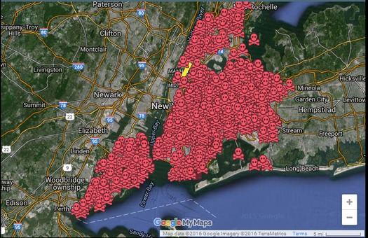 The red areas indicate the use of herbicides containing glyphosate in New York City parks. (www.RevBilly.com/maps)