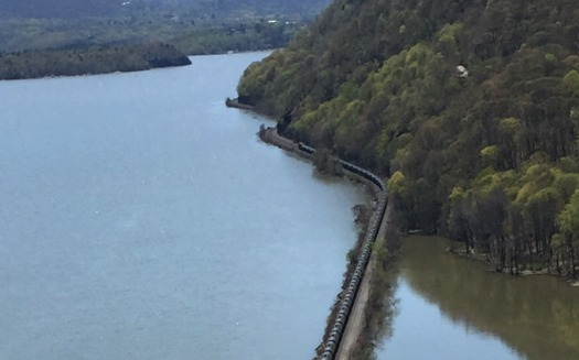 Crude oil travels down the Hudson River by rail and barge. (Andrea Sears)