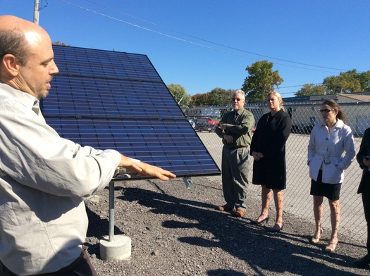 State leaders tour Berea's Solar Farm. Solar advocates in Kentucky want net metering expanded, saying it makes economic sense.(Lane Boldman)