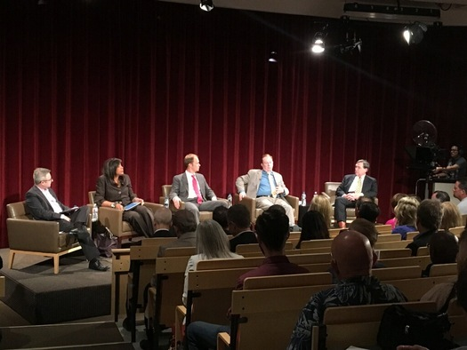 A panel of experts on solar energy discussed a new report on net metering at UNLV on Tuesday. (Jackie Zusi-Russell)