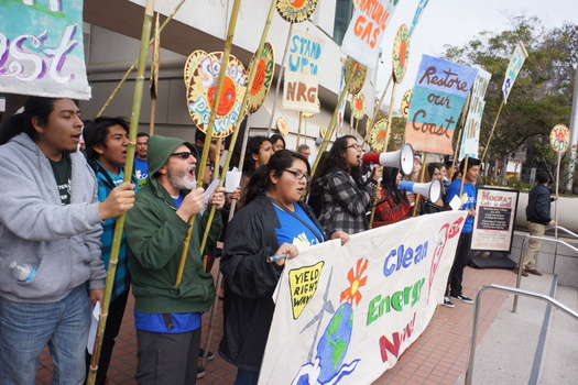 Clean-energy advocates protest against a power plant proposed for Oxnard at a meeting of the California Public Utilities Commission in December. (Rene Garcia/CAUSE)