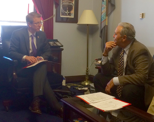 On Wednesday, AARP Washington volunteer state president Mike Tucker, right, visited U.S. Rep. Derek Kilmer, D-WA, co-sponsor of the RAISE Family Caregivers Act. (AARP Washington)