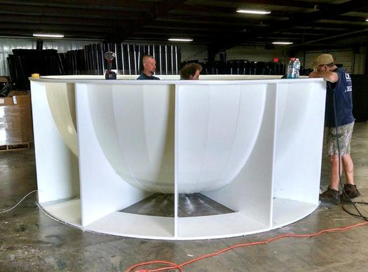 This base supplied by Lundell Plastics will hold what the people of Sac City, Iowa, hope will become the World's Largest Popcorn Ball. (LundellPlastics.com)